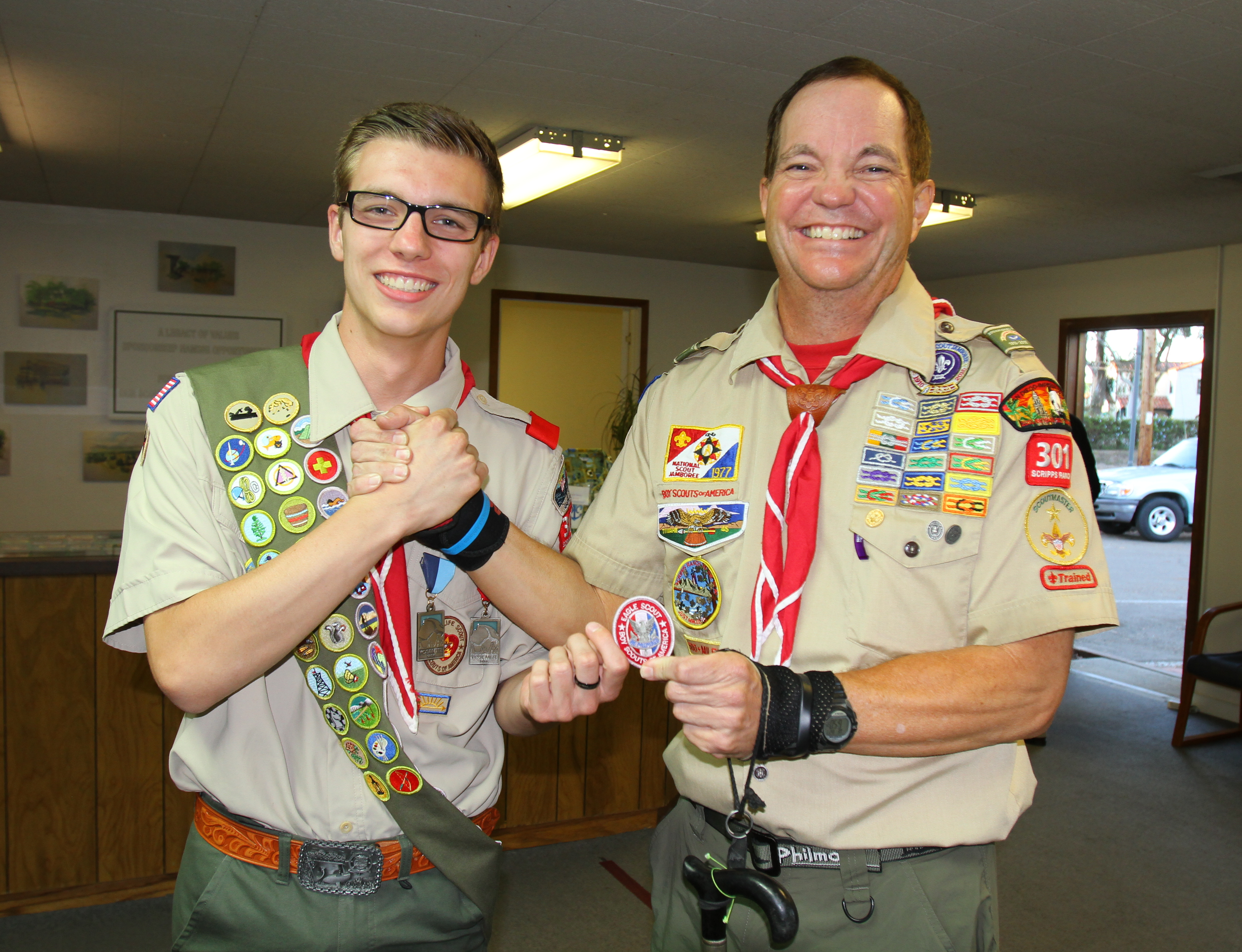Andrew Izzo Eagle Scout with SM Bryon Solberg
